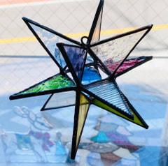 上原 歩さん作 ステンドグラスで3D星形オーナメント