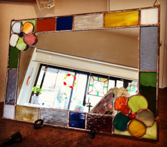 永井佐和子さん作 ステンドグラス壁掛けミラー