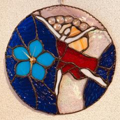 石田瑞枝さん 作  ステンドグラス 壁掛け時計