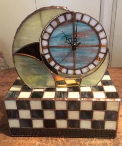 木下美幸さん作 ステンドグラスの置き時計&ティッシュBOX